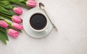 Picture coffee, bouquet, Cup, tulips