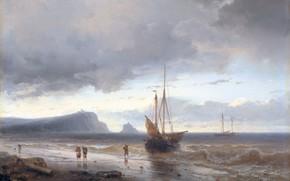 Picture Along the coast, picture, Louis Meijer, ship, oil, sailboat, 1850, Johan Hendrik Louis Meijer, sail, …