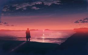Picture sea, sunset, silhouette, male, K.Hati