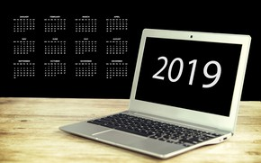 Picture New year, laptop, calendar, 2019