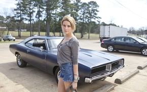 Picture look, pose, street, Dodge Charger, Amber Heard, Amber Heard, Piper, Drive angry, Drive Angry