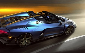 Picture figure, supercar, 2018, V10, ItalDesign, Targa, 610 HP, 5.2 L., Zerouno Duerta