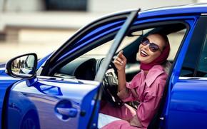 Picture auto, girl, laughter, Lexus, the door, glasses, cloak, Tatiana GUZ