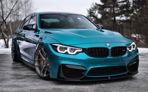 Picture BMW, Blue, Winter, Snow, F80, Sight, Adaptive LED