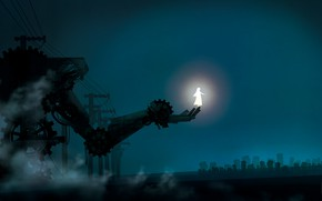 Picture girl, night, fantasy, glows, metal hand