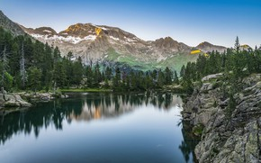 Picture landscape, mountains, nature, lake, Spain, forest, Bank, The Pyrenees, Escarpins