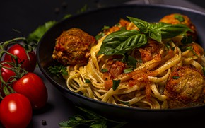 Picture the dark background, table, food, plate, tomatoes, dish, pasta, noodles, Basil, meatballs, мяо