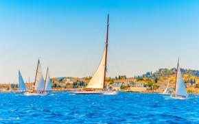 Picture sea, the city, coast, yachts, Greece, sails, Greece, Lefkas, Лефкас