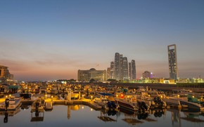 Wallpaper the sky, lights, river, building, home, the evening, boats, skyscrapers, Abu Dhabi, UAE, piers