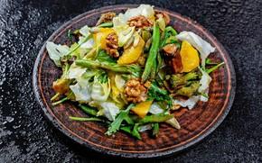 Picture oranges, nuts, cabbage, salad