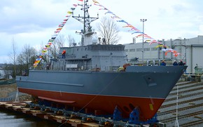 Picture Navy, minesweeper, project 12700, launching, Ivan Antonov