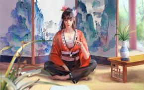 Picture girl, art, barefoot, brunette, artist, asian, digital art, artwork, sitting, kimono, feet, japanese girl, legs …