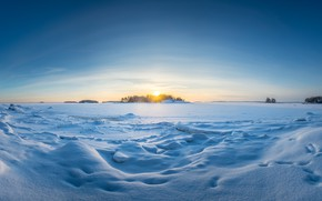 Picture winter, field, the sun, clouds, light, snow, sunset, nature, blue, dawn, shore, horizon, panorama, the …