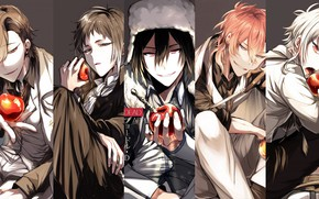 Picture collage, apples, guys, Bungou Stray Dogs, Stray Dogs: A Literary Genius
