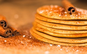 Picture food, Breakfast, cinnamon, pancakes, powdered sugar