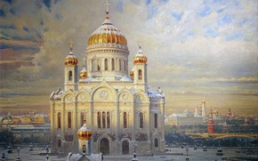 Picture winter, picture, Moscow, the Kremlin, Temple, dome, The Cathedral Of Christ The Savior