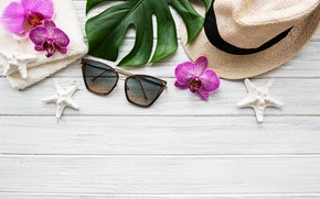 Picture leaves, flowers, stay, white, hat, Orchid, pink, flowers, orchid, vacation, spa, starfish, sunglasses, zen, rlax