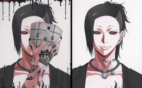 Picture monster, mask, red eyes, Tokyo ghoul, Tokyo Ghoul, Uta, tattooed, eater, piercing in the lip, …