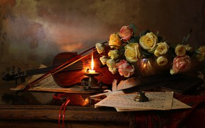 Picture flowers, style, notes, pen, violin, roses, candle