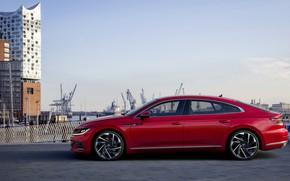 Picture red, Volkswagen, in profile, R-Line, liftback, 2020, Arteon