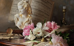 Picture flowers, notes, pen, watch, candle, table, bust, candle holder, peonies, Andrey Morozov
