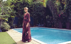 Picture look, girl, pose, Charlize Theron, pool