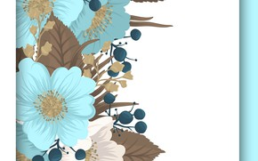 Picture white, flowers, background, blue, flower, background, pattern, Vintage, seamless