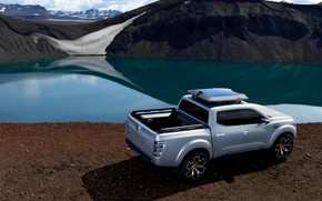 Picture snow, silver, Renault, pickup, pond, 2015, Alaskan Concept