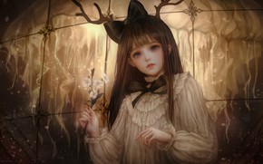 Picture girl, flowers, Medusa, horns, Shal.E