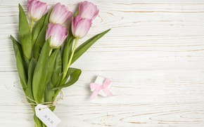 Picture gift box, background, white, tulips, wood