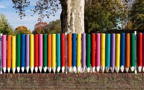 Picture Germany, Dusseldorf, North Rhine-Westphalia, kindergarten, a fence made of pencils