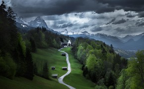 Picture road, the sky, trees, mountains, house
