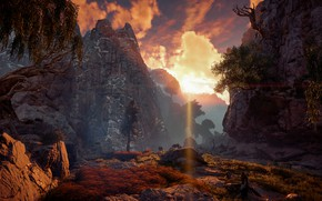 Picture the sky, trees, landscape, mountains, a ray of sunshine, Horizon Zero Dawn