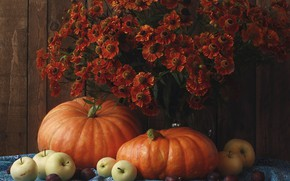 Picture flowers, apples, bouquet, pumpkin, still life