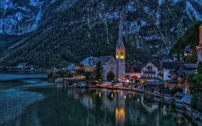 Picture landscape, mountains, lake, tower, home, the evening, Austria, lighting, town, Hallstatt, Hallstatt