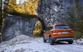 Picture snow, rocks, SUV, Seat, 2017, 4Drive, Ateca