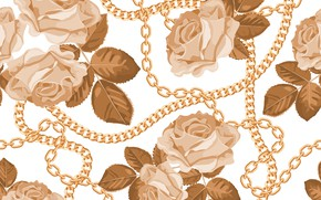 Picture white, flowers, background, pattern, roses, chain, buds