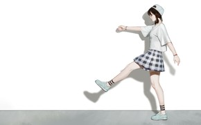 Picture Girl, Art, Asian, Style, Nike, Background, Illustration, Minimalism, Skirt, Cap, Character, Kim Sunhong