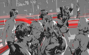 Picture red, grey, black, the game, anime, art, characters, person, Person 5