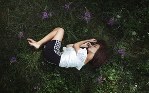 Picture grass, girl, lies, flowers, Zlobin Awesome, Vita
