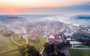 Picture the city, fog, Lithuania, Kaunas