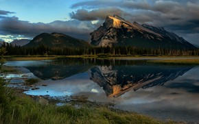 Wallpaper forest, the sky, grass, clouds, mountains, lake, reflection, shore, tops, the evening, ate, Canada, Albert, ...