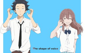 Picture girl, Anime, guy, two, tears, 2016, You no Katachi, A Silent Voice, Form Voice