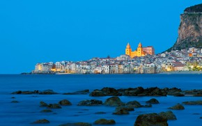 Picture sea, mountain, home, Italy, Cathedral, Sicily, Cefalu