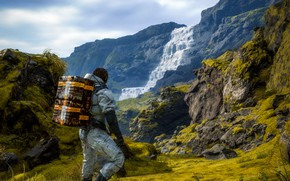Picture landscape, mountains, the game, people, waterfall, Death Stranding