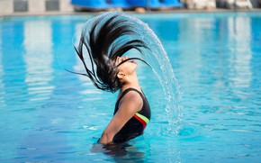 Picture water, girl, squirt, face, hair, pool