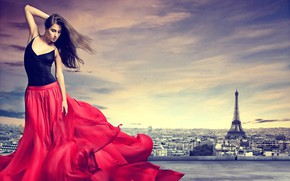 Picture girl, the city, pose, red, skirt, figure, brunette, Eiffel tower, beautiful, Let Behnke