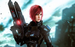 Picture girl, weapons, gun, armor, Mass Effect, Mass Effect: Andromeda