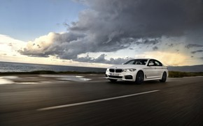 Picture road, white, movement, BMW, puddles, sedan, 540i, 5, four-door, 2017, 5-series, G30