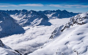 Picture winter, the sky, clouds, snow, landscape, mountains, nature, fog, blue, rocks, hills, winter, the slopes, …